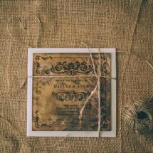 Poročno vabilo prestižni les in gravura